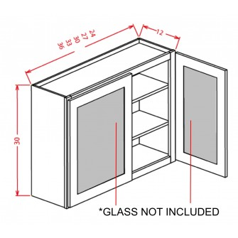"Glass Door For 30"" High Wall Cabinets - Double Door"