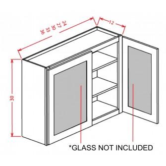 """Glass Door For 30"""" High Wall Cabinets - Double Door"""