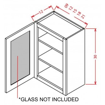 "Glass Door For 30"" High Wall Cabinets - Single Door"