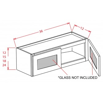 "Glass Door For 36"" Bridge Cabinets"