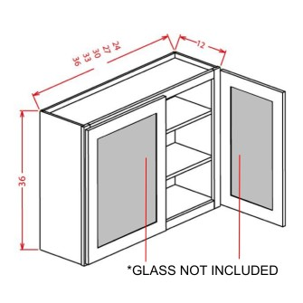 "Glass Door For 36"" High Wall Cabinets - Double Door"