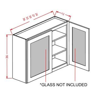 """Glass Door For 36"""" High Wall Cabinets - Double Door"""