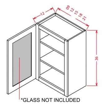 "Glass Door For 36"" High Wall Cabinets - Single Door"