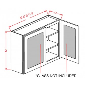 "Glass Door For 42"" High Wall Cabinets - Double Door"
