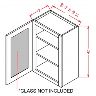 "Glass Door For 42"" High Wall Cabinets - Single Door"