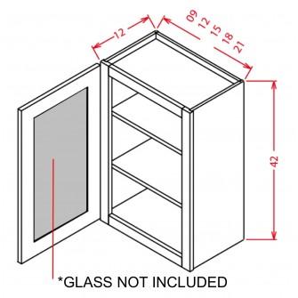 """Glass Door For 42"""" High Wall Cabinets - Single Door"""
