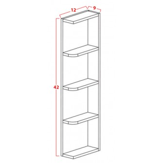 Wall End Open Shelves - Four Shelves