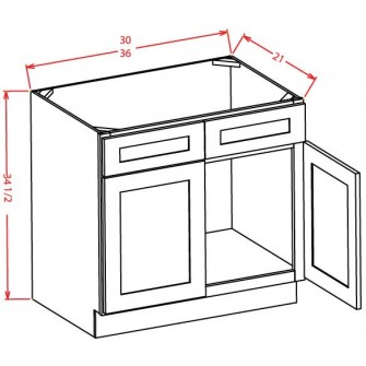 Vanity Sink Bases - Double Door Double Drawer Front