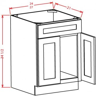 Vanity Sink Bases - Double Door Single Drawer Front